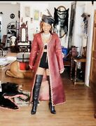 Custom W. African And Natural Organic Hand Dyed Burgundy Red Leather Coat  Xs-s