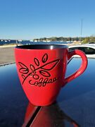 Starbucks 2007 Coffee Cup Mug 12oz Red And Black Coffee Beans And Leaves