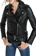 Madewell Womenand039s Ultimate Leather Jacket True Black Size Extra Small Xs