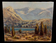 Vintage California Mountain Lake Landscape Oil Painting Mabel Vinson Cage Listed