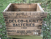 Vtg 1920s Delco Light Batteries Wood Shipping Crate Gm Detroit Mi United Motors