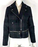 Joes Collection Womens Moto Jacket Black Gray Wool Blend Size S Nwt