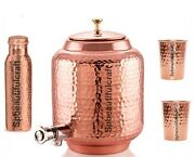 New Copper Water Dispenser Matka Hammered Container Pot With Bottle And Glass