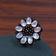 Thanks Giving Day 925 Sterling Silver Diamond White Rainbow Moonstone Ring R-516