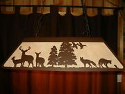 Laser Cut Steel Whitetail And Fox Pool Table Light Lamp Hunt Cabin Black