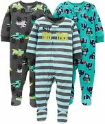 Simple Joys By Carterand039s Baby And Toddler Boysand039 3-pack Loose Fit Fleece Footed Pa