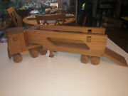 Vintage Amish Handcrafted Wooden 2pc Semi Tractor Trailer Truck 24andrdquol Wheels Roll