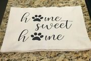Farmhouse Throw Pillow Cover Home Sweet Home Paw Print 12 X 16 Made In Usa