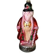 Krebs The Man Of The Hour Candy Cane Pink Santa Claus Glass Christmas Ornament