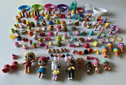 Huge Lot Shopkins Dolls, Rubber Bands And Miniature Figurines Over 150 Pieces