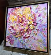3d Textured Impasto Floral Painting, Wall Sculpture On Canvas 14x14 In. Framed.
