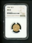 1926 Us Gold Indian Quarter Eagle 2.50 Ngc Ms 62 Ch Unc Well Struck And Bright