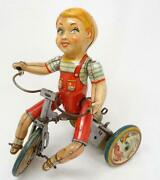 Vintage Unique Art Tin Wind-up Toy Kiddy Cyclist Boy On Tricycle