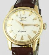 Rare 1957 Longines Conquest Automatic 18kt Gold Vintage Mens Wrist Watch In Box