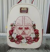 Star Wars Loungefly Darth Vader Mini Backpack Floral Embroidered Disney Nwt
