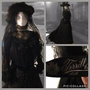 Antique 19th Victorian Lace Mourning Bustle Dress Gown Veil Hat Couture Label