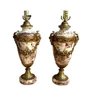 French Louis Xvi Style Marble And Bronze Urn Form Lamps
