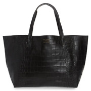 Kurt Geiger Womenandrsquos Violet Croc Embossed Large Black Leather Slouchy Tote