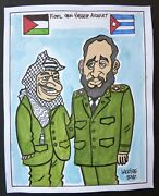 Fidel Castro And Yasser Arafat / Cuba Drawing By Lacoste From Cuban Poster Gallery