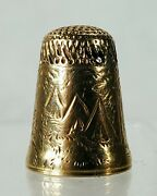 Antique Gold Thimble With Finely Engraved Native American Indian Camp
