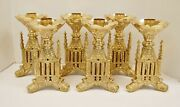 Beautiful Set Of 6 French Gothic Brass Altar Candlesticks 34sh Chalice Co.