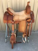 Western Natural And Brown Leather Strip Down Roper Ranch Cutter Saddle 12 To 18
