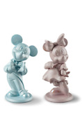 Lladro Set Of 2 Minnie Mouse Pink And Mickey Mouse Blue 01009418 01009419