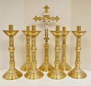 Set Of 6 - 18 1/2 Polished Brass Church Candlesticks And Altar Cross 98
