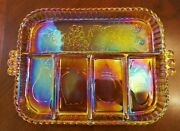 Indiana Glass Marigold Carnival Glass Divided Tray Vintage