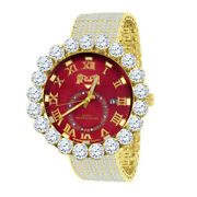Genuine Diamond Solitaire Ruby Red Gold Finish Xl 55 Mm Custom Ice House Watch