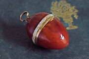 Incredible Antique English 15k Gold Amber Egg Pendant And039gage De Mon Amitieand039 C1750