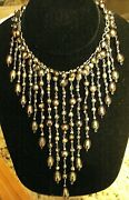 Rare Beauty Vintage Cleopatra Style Peacock Freshwater Pearl Necklace Sterling