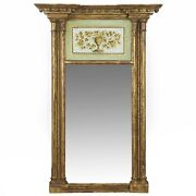 American Federal Giltwood Mirror W/ Painted Eglomise Panel New England C. 1810