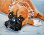 Boxer Dog Portrait Large Oil Painting Custom Your Dog From Your Photos Rzzart