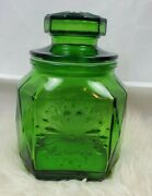 Green Glass Snowflake Cannister Vintage Wheaton Nj Etched Diamond Pattern