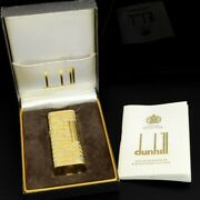Dunhill Lighter K18 Yellow White Gold 750 Full Overhauled With Box