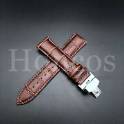 Leather Alligator Crocodile For Zenith Watch Brown Strap Band Steel Clasp