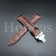 Leather Alligator Crocodile For Zenith Watch Brown White Strap Band Steel Clasp