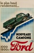 Poster Art Deco Automobile - Raoul Auger - Trucks Ford - Industrial - 1927