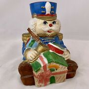 """Vintage Porcelain Toy Soldier Wind Up Music Box Mechanical Toy Presents 6""""x4"""""""