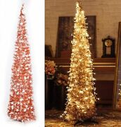 Night-gring Pop-up Artificial Christmas Tree With 100led Lights,collapsible Penc
