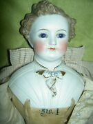 Rare Antique, 17 Parian Dresden Male Doll, Glass Eyes, Molded Shirt And Tie Exlnt