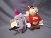 Lot Of 2 Disney Store Beanie Plush Dumbo The Elephant And Timothy Mouse