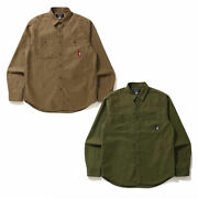 A Bathnig Ape Unisex B Collection B Patch Relaxed Puckering Work Shirt New