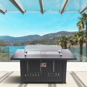 52 Aluminum Propane Gas Fire Pit Table - Black With Silver Clip Wind Guard