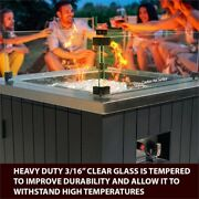 Ev Fires 24 Aluminum Propane Gas Fire Pit In Stainless Steel/black - Wind Guard