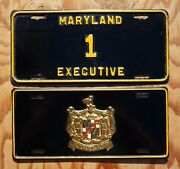 1954 Maryland Governor License Plate Pair / Set Low Digit 1