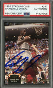 Shaquille Oand039neal Signed 1992-93 Topps Stadium Club 247 Rc Rookie Psa/dna Auto