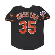 Mike Mussina 1997 Baltimore Orioles Alt Black Jersey W/ Jackie 50th Patch