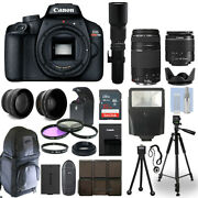 Canon Eos Rebel T100 Dslr Camera + 5 Lens Kit 18-55mm + 75-300mm + 500mm And More